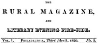 Cover of The Rural Magazine, and Literary Evening Fire-Side, Vol. 1 No. 03 (1820)