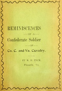 Cover of Reminiscencies of a Confederate soldier of Co. C, 2nd Va. Cavalry