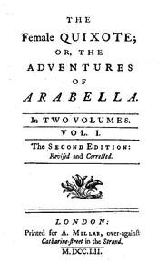 Cover of The Female Quixote; or, The Adventures of Arabella, v. 1-2