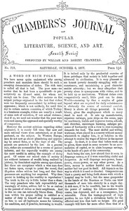 Chambers's Journal of Popular Literature, Science, and Art, No. 719October 6, 1877