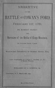 Cover of Narrative of the Battle of Cowan's Ford, February 1st, 1781 and Narrative of the Battle of Kings Mountain