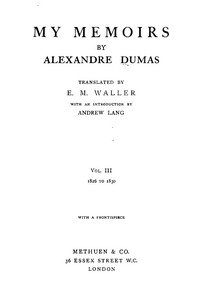 Cover of My Memoirs, Vol. III, 1826 to 1830