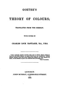 Cover of Goethe's Theory of Colours