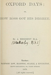 Cover of Oxford Days; or, How Ross Got His Degree