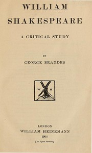Cover of William Shakespeare: A Critical Study