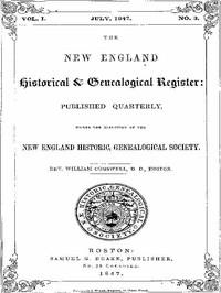 The New England Historical & Genealogical Register, Vol. 1, No. 3, July 1847