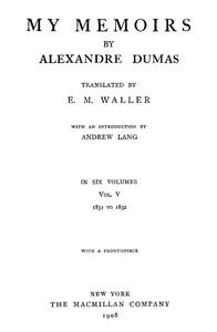 Cover of My Memoirs, Vol. V, 1831 to 1832