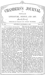 Chambers's Journal of Popular Literature, Science, and Art, No. 723November 3, 1877
