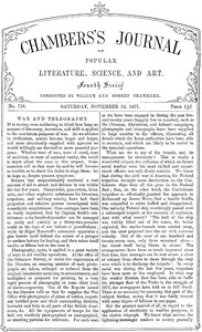 Cover of Chambers's Journal of Popular Literature, Science, and Art, No. 726November 24, 1877
