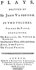 Cover of Plays, written by Sir John Vanbrugh, volume the first