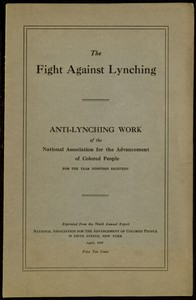 The Fight Against LynchingAnti-Lynching Work of the National Association for the Advancement of Colored People for the Year Nineteen Eighteen
