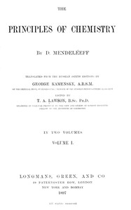 Cover of The Principles of Chemistry, Volume I