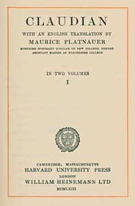 Cover of Claudian, volume 1 (of 2)With an English translation by Maurice Platnauer