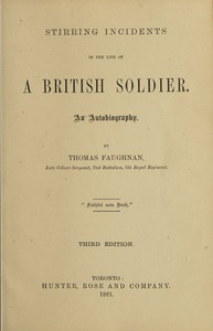 Cover of Stirring Incidents in the Life of a British Soldier: An Autobiography