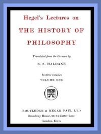 Cover of Hegel's Lectures on the History of Philosophy: Volume 1 (of 3)