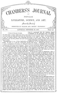 Cover of Chambers's Journal of Popular Literature, Science, and Art, No. 730December 22, 1877