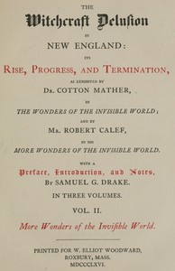 Cover of The Witchcraft Delusion in New England: Its Rise, Progress, and Termination (Vol. 2 of 3)