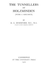 Cover of The Tunnellers of Holzminden (with a side-issue)