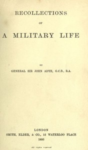 Cover of Recollections of a Military Life
