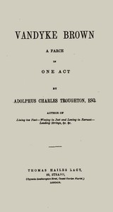 Cover of Vandyke Brown: A Farce in One Act