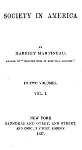 Cover of Society in America, Volume 1 (of 2)