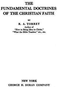 Cover of The Fundamental Doctrines of the Christian faith