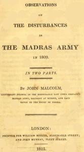 Cover of Observations on the Disturbances in the Madras Army in 1809