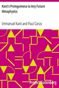 Cover of Kant's Prolegomena to Any Future Metaphysics