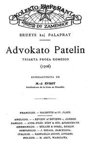 Advokato PatelinTriakta proza komedio (Esperanto)