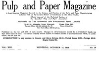 Cover of Pulp and Paper Magazine, Vol. XIII, No. 20, October 15, 1916 A Semi-Monthly Magazine Devoted to the Science and Practice of the Pulp and Paper Manufacturing Industry with an Up-to-date Review of Conditions in the Allied Trades.