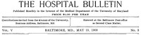 Cover of The Hospital Bulletin, Vol. V, No. 3, May 15, 1909
