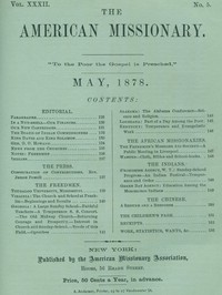 Cover of The American Missionary — Volume 32, No. 05, May, 1878