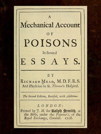 Cover of A Mechanical Account of Poisons in Several Essays