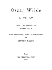 Cover of Oscar Wilde, a study