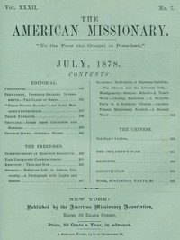 Cover of The American Missionary — Volume 32, No. 07, July 1878