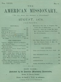 Cover of The American Missionary — Volume 32, No. 08, August, 1878