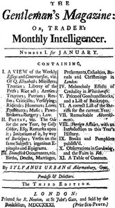 Cover of The Gentleman's Magazine, January 1731Or, Trader's Monthly Intelligencer
