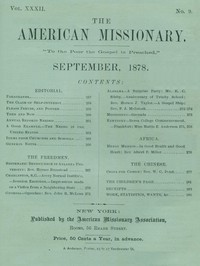 Cover of The American Missionary — Volume 32, No. 09, September, 1878