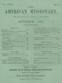 Cover of The American Missionary — Volume 32, No. 10, October, 1878