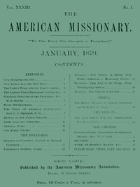 Cover of The American Missionary — Volume 33, No. 01, January 1879