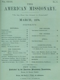 Cover of The American Missionary — Volume 32, No. 03, March, 1878