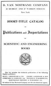 Cover of Short-Title Catalog of Publications and Importations of Scientific and Engineering Books (August 1910)