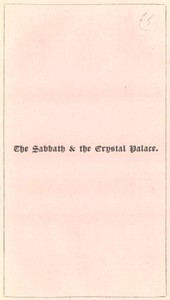 The Sabbath and the Crystal Palace