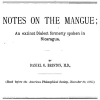 Notes on the Mangue: An Extinct Dialect Formerly Spoken in Nicaragua