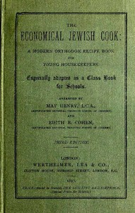 Cover of The Economical Jewish Cook: A Modern Orthodox Recipe Book for Young Housekeepers