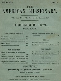 Cover of The American Missionary — Volume 33, No. 12, December 1879