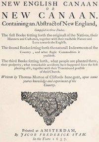 Cover of The New English Canaan of Thomas Morton with Introductory Matter and Notes