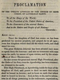 Cover of Proclamation of the Twelve Apostles of the Church of Jesus Christ of Latter-Day Saints