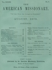 Cover of The American Missionary — Volume 33, No. 08, August, 1879