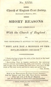 """Cover of Short Reasons for Communion with the Church of England Or, The Churchman's answer to the question, """"Why are you a Member of the Established Church?"""""""
